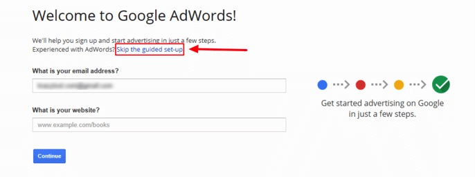 Skip Guided Setup AdWords