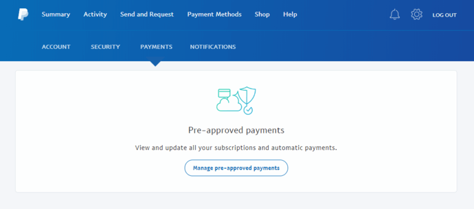 PayPal Payments Page