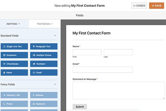 WPForms Edit Contact Form