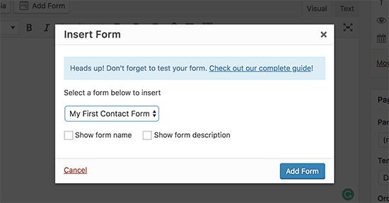 WPForms Insert Form