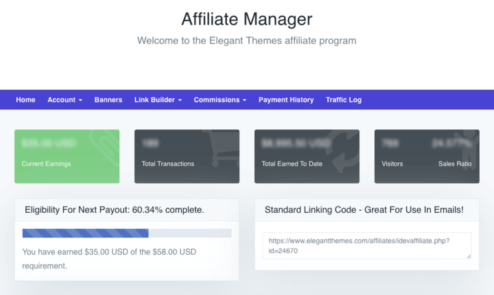 Elegant Themes Affiliate Dashboard