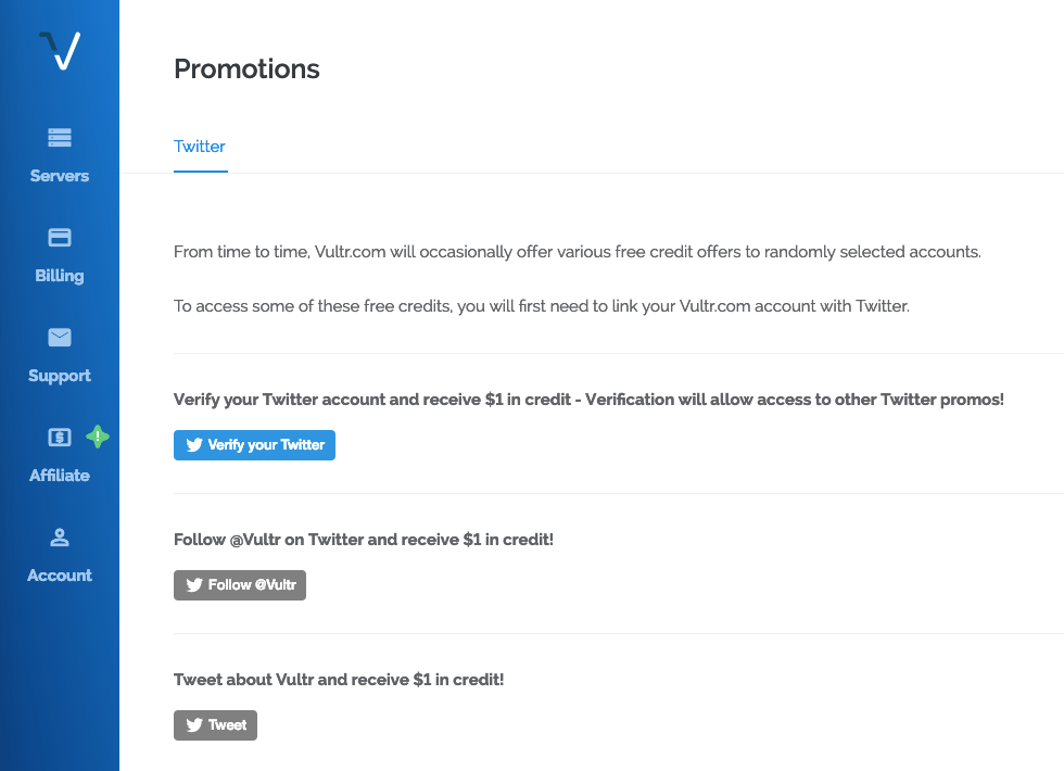 Vultr Twitter Credits