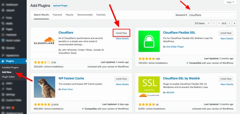 Add Cloudflare WordPress Plugin