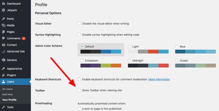 Disable WordPress Toolbar
