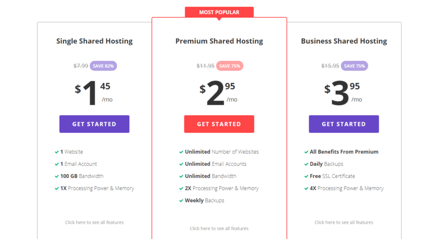 Hostinger Shared Web Hosting Pricing