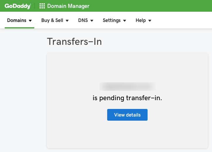GoDaddy Domain Transfer-In