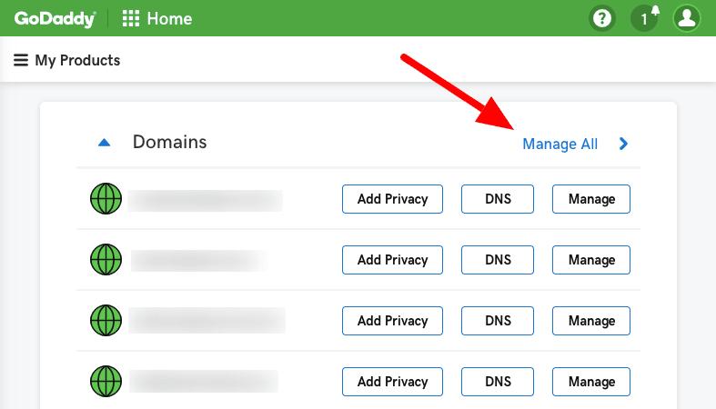 GoDaddy Manage Domains
