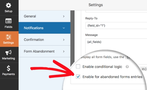 Enable Notification Abandoned Entries