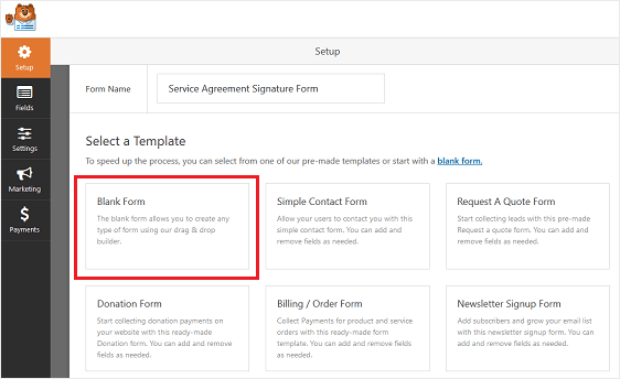 WPForms Blank Form Template