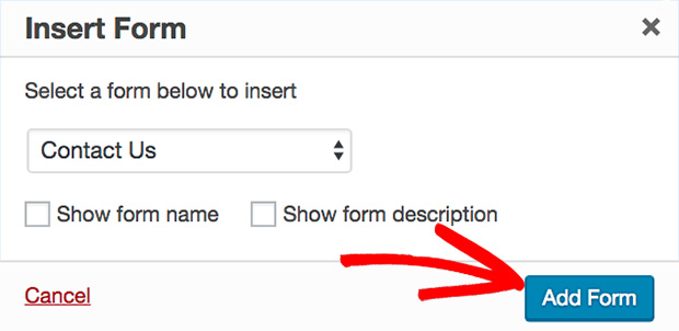 WPForms Insert Form Popup