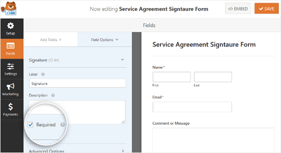 WPForms Signature Field Settings