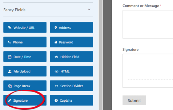 WPForms Signature Form Field