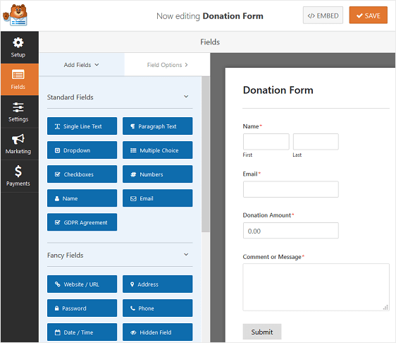 WPForms Donation Form