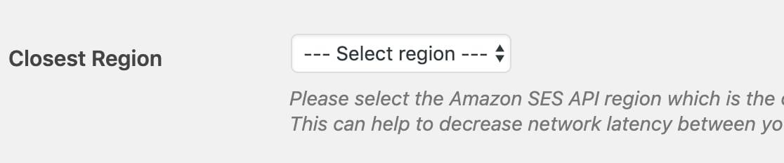 WP Mail SMTP Amazon SES Closest Region