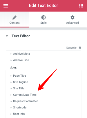 Elementor Text Editor Current Date Time